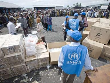 Les humanitaires distribuant de l'aide aux déplacés