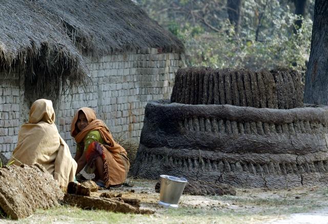 Deux femmes dalits pétrissent à deux mains de la bouse de vache mélangée avec de la paille, afin de former une substance pouvant servir d'engrais, à Lucknow, dans le nord de l'Inde, le 16 janvier 2008. (Photo: Reuters)