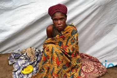Une expulsée de Brazzaville dans le site de Maluku qui attend impatiemment son rapatriement.