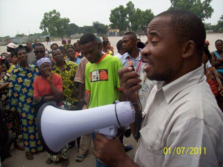 Jonas Tshiombela, coordonnateur de la NSCC s'adressant à la population (Photo d'archives)
