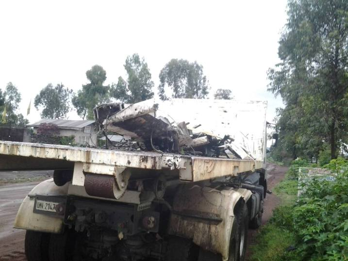 Les restes du drone dans un camion