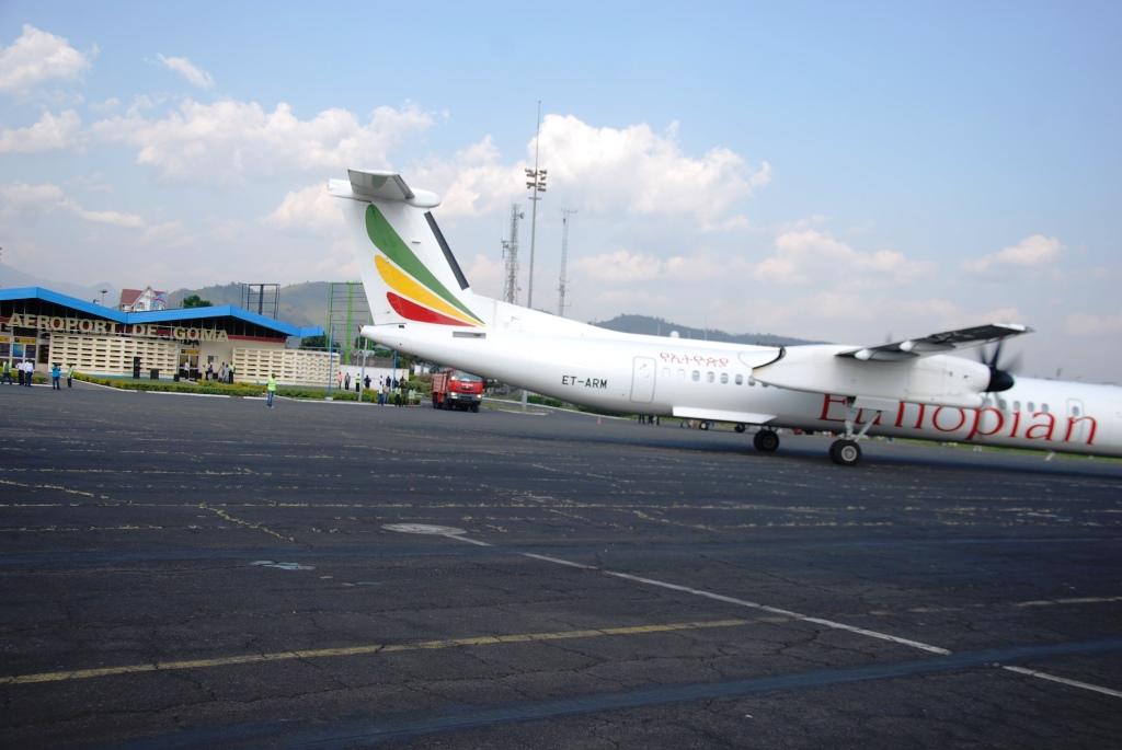 Atterrissage d'Airbus d'Etiopian Airlines le 10 juillet 2015 à Goma