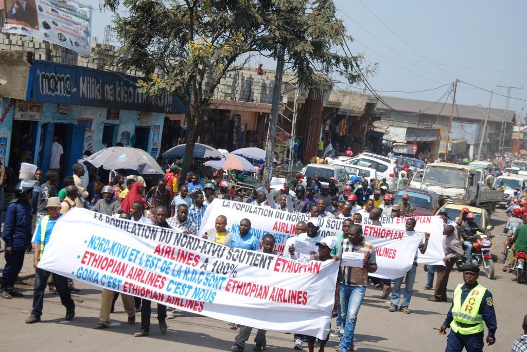 Les manifestants contre la suspension d'Ethiopian Airlinesà Goma