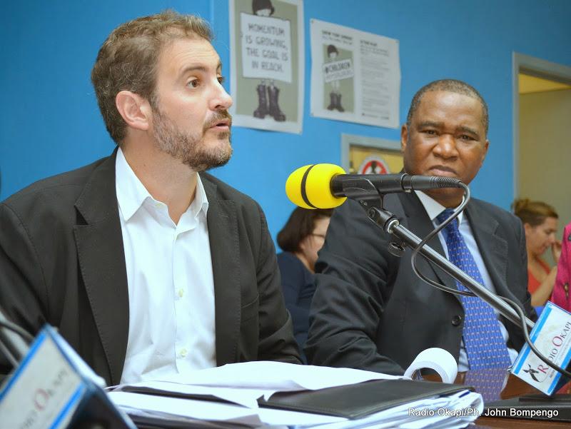 De gauche à droite: José Maria Aranaz, Directeur du BCNUDH en RDC et Chales Bambara, directeur de l(Information publique de la MONUSCO