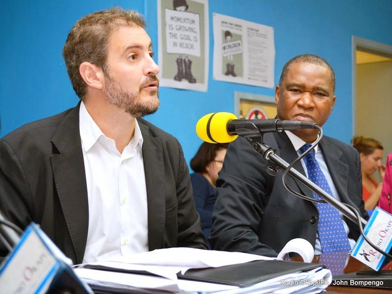 De gauche à droite: José Maria Aranaz, directeur du BCNUDH en RDC et Charles Bambara, directeur de l'Information publique de la MONUSCO